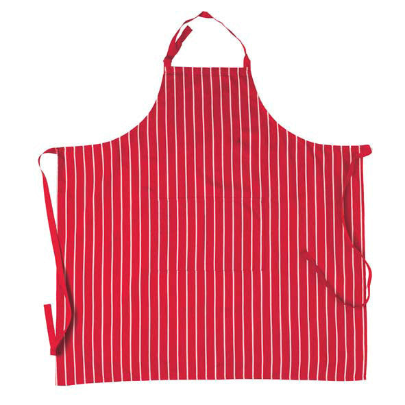 Red Bib Striped Apron with Pocket