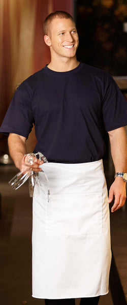 White Calf Length Apron with Pocket