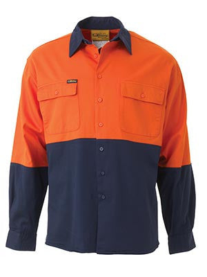 Bisley Mens HiVis Two Tone Cotton Long Sleeve Shirt