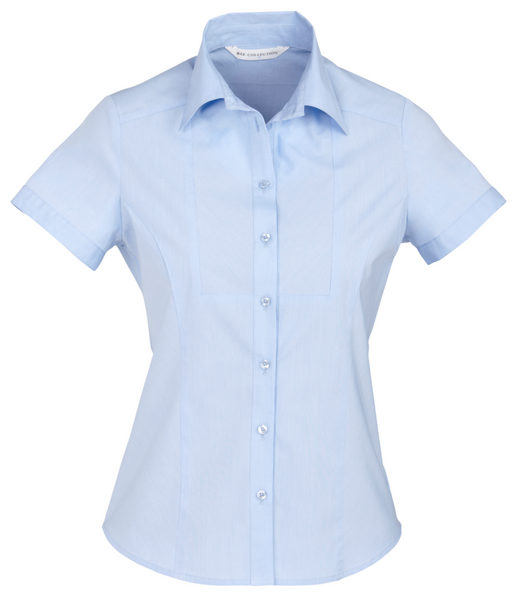 Ladies Blue Chevron Short Sleeve Shirt