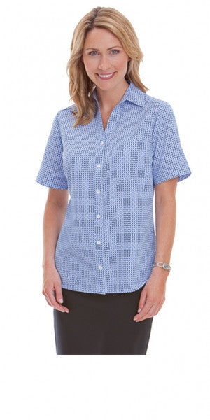 Ladies Blue Mosiac Print Shirt