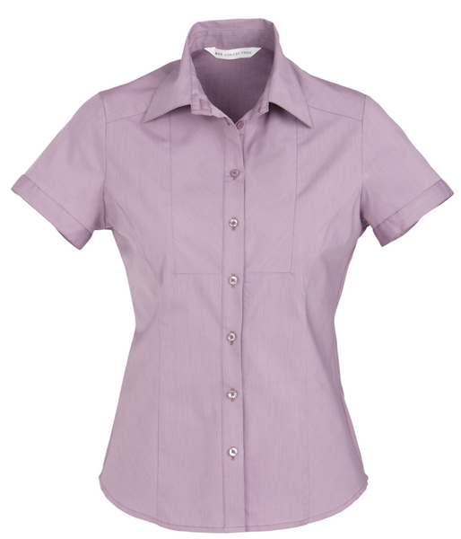 Ladies Grape Chevron Short Sleeve Shirt