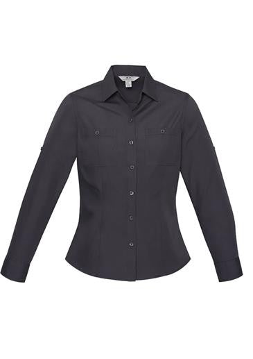 Ladies Charcoal Bondi Roll-Up Long Sleeve Shirt