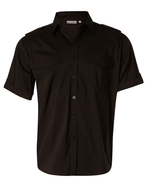 Benchmark Black Short Sleeve Military Shirt