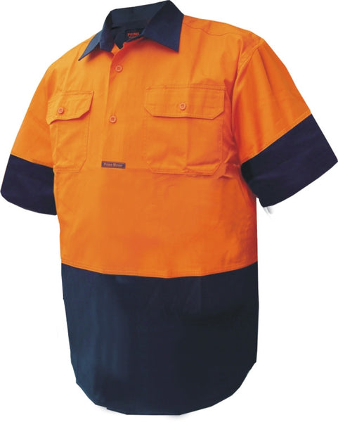 Primemover Hi Vis Light Weight Closed Front Short Sleeve Shirt