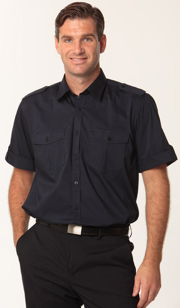 Mens Navy Short Sleeve Military Shirt
