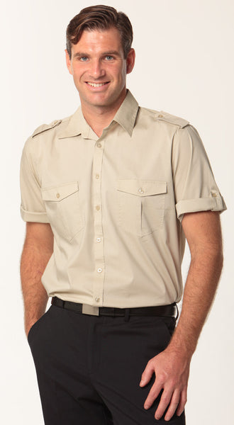 Benchmark Mens Sand Short Sleeve Military Shirt