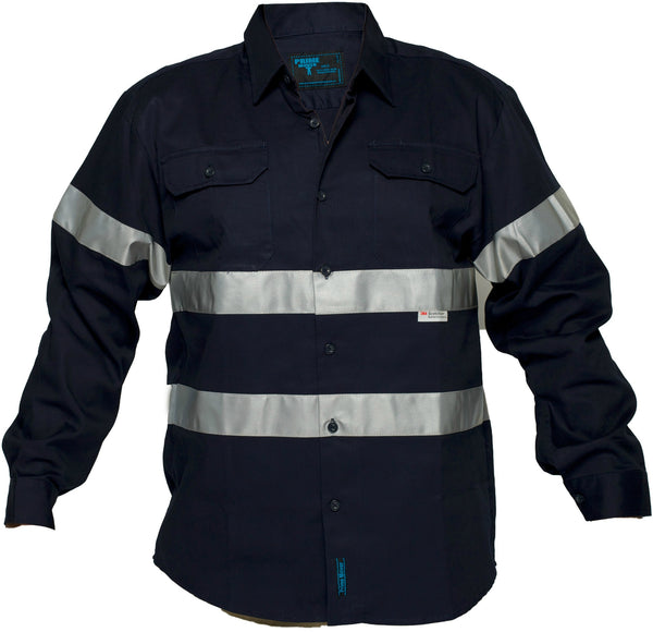 Primemover Mens L/S Drill Shirt with Tape