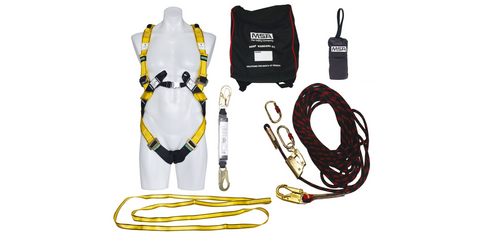 MSA WORKMAN Roof Workers Fall Protection Kit With Premier Harness & 15 Metre Kernmantle Rope
