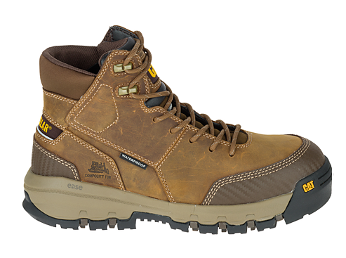 CAT Device Side Zip Waterproof Work Boot - Dark Beige