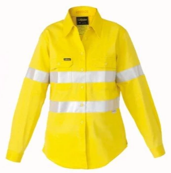 Bisley Ladies 3M Taped HiVis Cool L/S Shirt