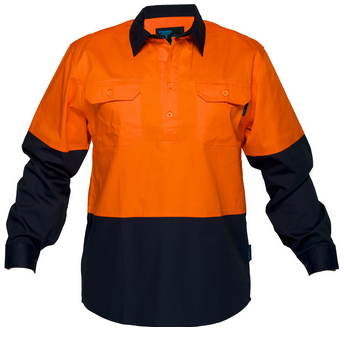 Primemover Hi Vis Light Weight Closed Front Long Sleeve Shirt