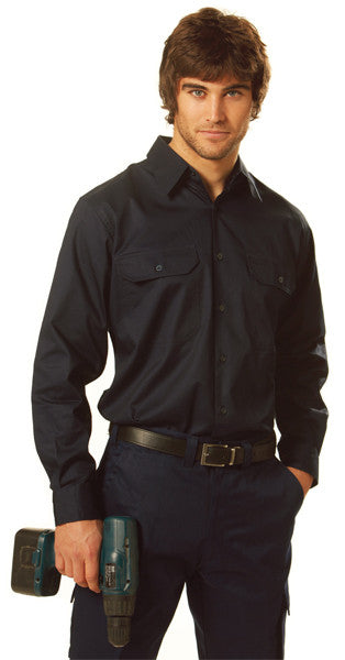 Mens Navy Cool Breeze Cotton Twill Long Sleeve Shirt