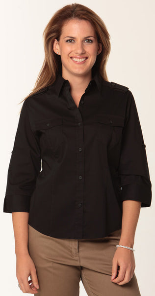 Benchmark Black 3qtr Sleeve Military Shirt