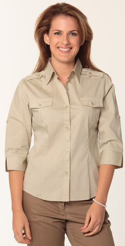 Benchmark Ladies Military 3qtr Sleeve Shirt