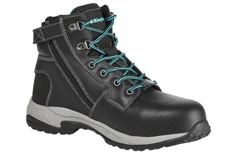 King Gee Women's Black Tradie Composite Toe Side Zip Safety Boot
