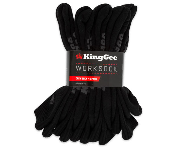 King Gee Crew Sock 5 Pack - GREAT VALUE