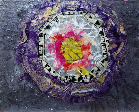 """""""Preserve the Inner Light"""", Winter Solstice meditation art piece in mixed media collage"""