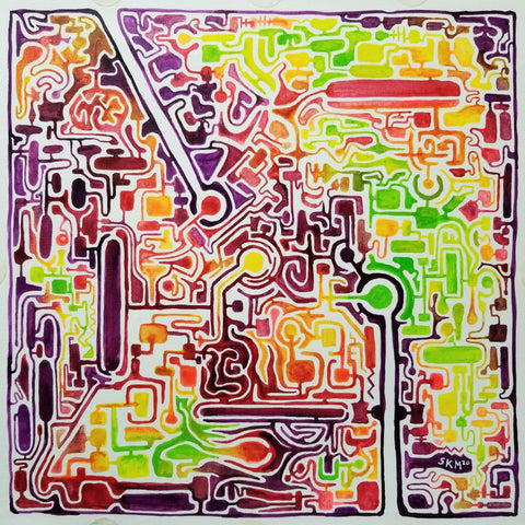 Scott Moore, Spring, maze acrylic ink on canvas paper, 2020