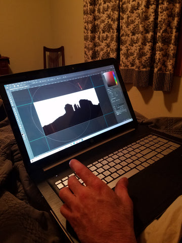 Scott Moore working on digital design for art gifts