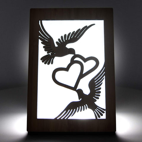 HeartSpace Cards, two doves Valentines Day light-up greeting card