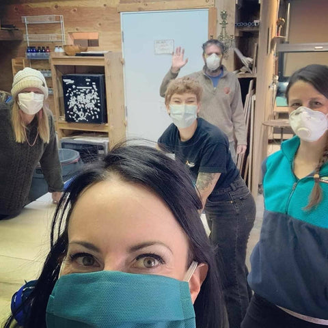 core volunteer team for surgical mask cutting and PPE at Liquiterra