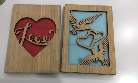 HeartSpace Cards, light-up cards with bamboo wood cut out.
