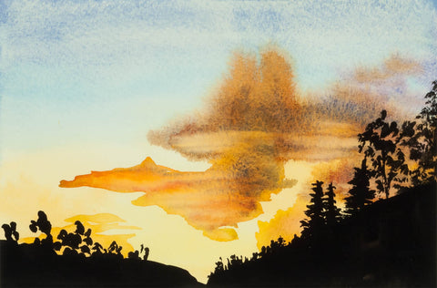 """""""Marble Sunset"""" by Sydney Francis, watercolor"""