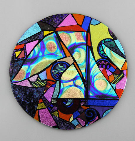 """Sailing Among the Stars"", fused dichroic glass by Patricia Kearney"