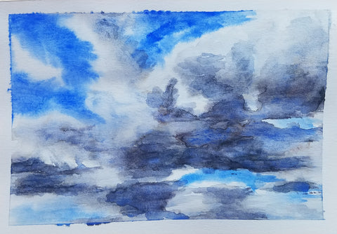 wet on wet watercolor clouds by Sydney Francis