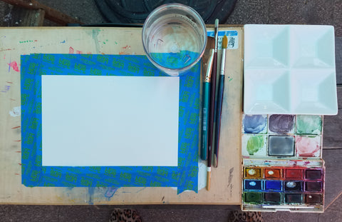 materials set up for a basic watercolor painting