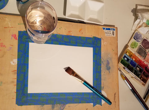 wet your paper to get ready to add color to your painting