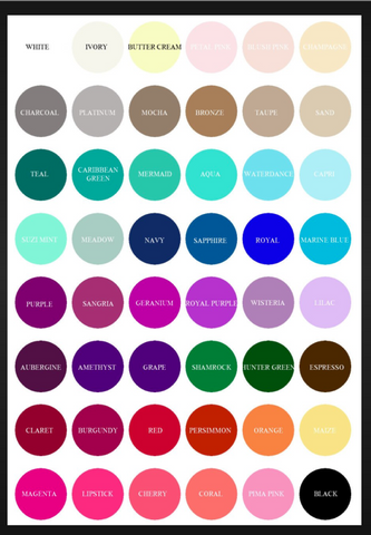 'A Bridesmaid Dress Color Chart'