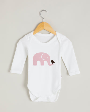 Pink Elephant Long Sleeve Bodysuit