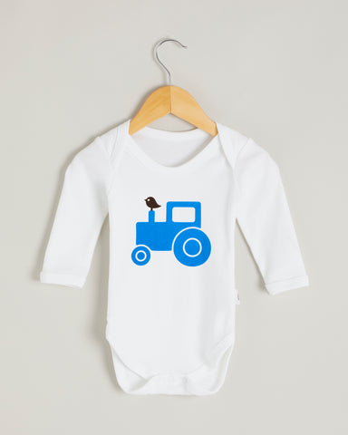 Blue Tractor Long Sleeve Bodysuit