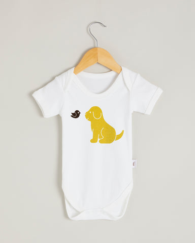 Yellow Puppy Short Sleeve Bodysuit