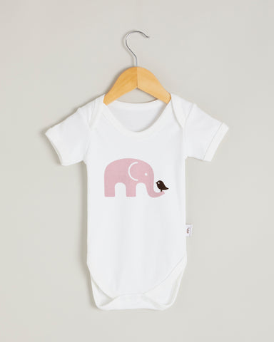 Pink Elephant Short Sleeve Bodysuit