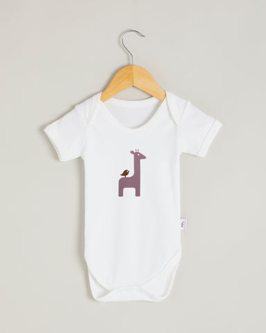 Purple Giraffe Short Sleeve Bodysuit
