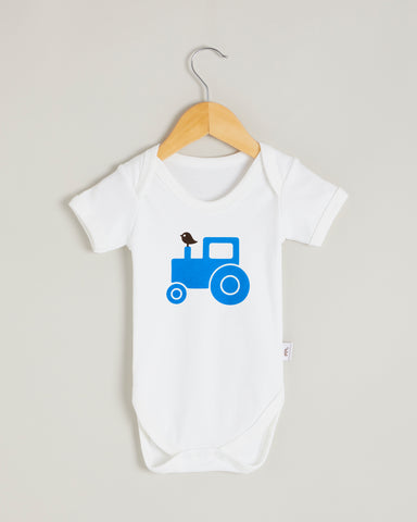 Blue Tractor Short Sleeve Bodysuit