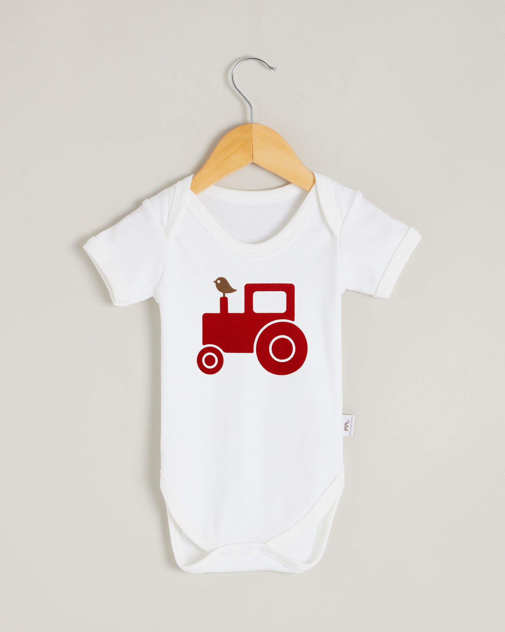 Red Tractor Short Sleeve Bodysuit