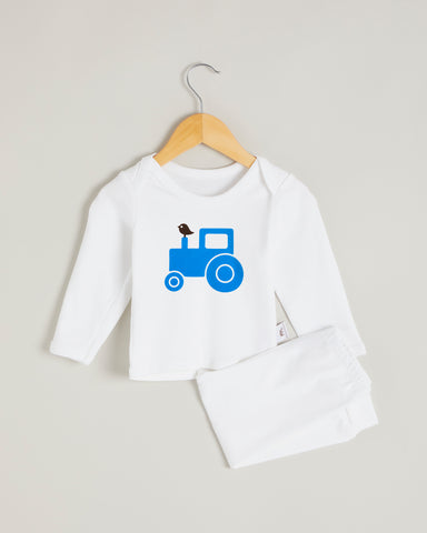 Blue Tractor Long Sleeve Lounge Set