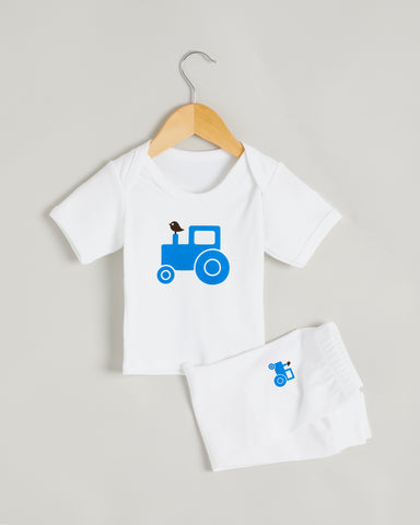 Blue Tractor Short Sleeve Lounge Set