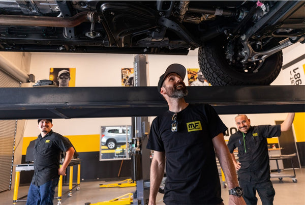 Aaron Kaufman at the MagnaFlow Tech Center looking at the 2021 Ford Bronco