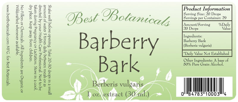 Barberry Root Bark Extract Label