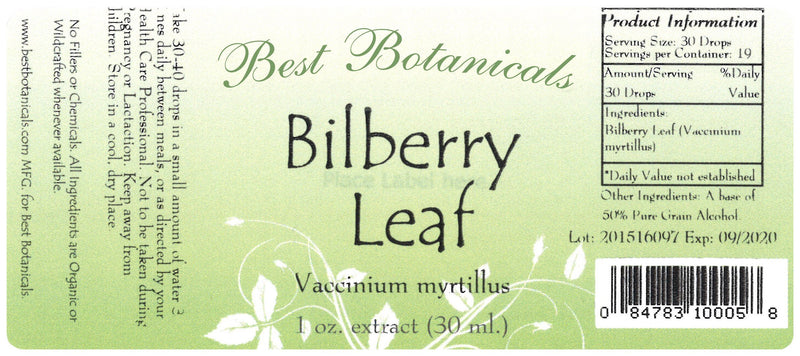Bilberry Leaf Extract Label