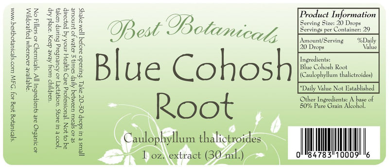 Blue Cohosh Root Extract Label