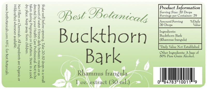 Buckthorn Bark Extract Label
