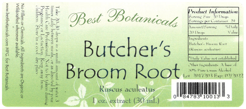 Butcher's Broom Root Extract Label