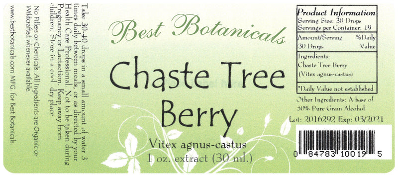 Chaste Tree Berry Extract Label