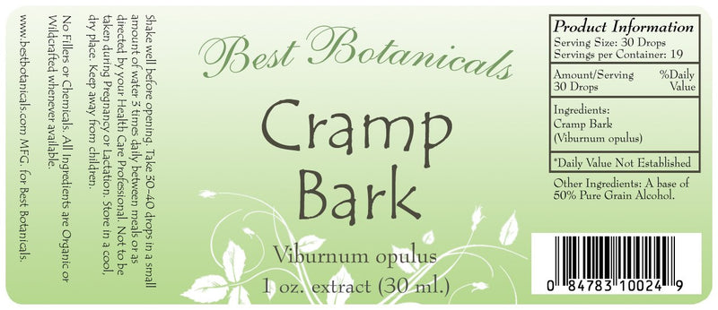 Cramp Bark Extract Label
